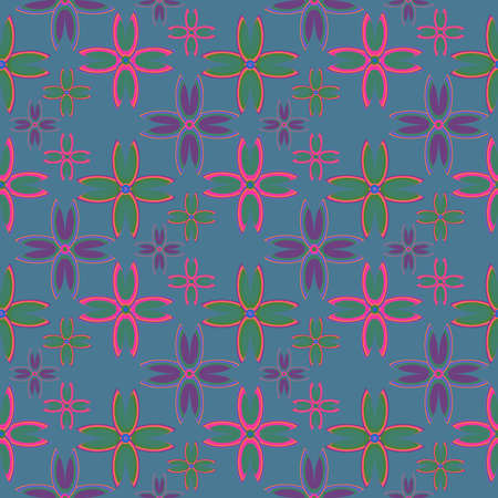 floret: Floral geometric seamless pattern with colorful floret on green background.