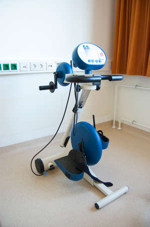 Ergometer bike in the heart attack rehabilitation center, geriatrics.  It is used to monitor the progress of cardiac patients.