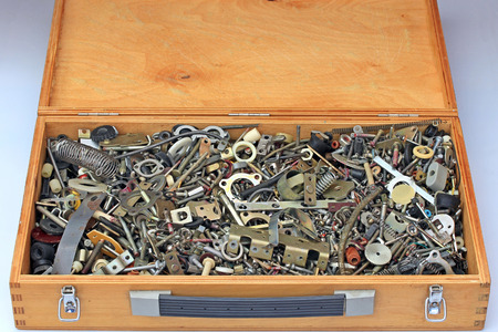 hardware: hardware metal stock in a box Stock Photo