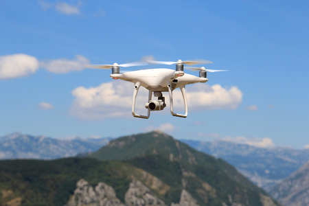 flight of the drone over the mountain