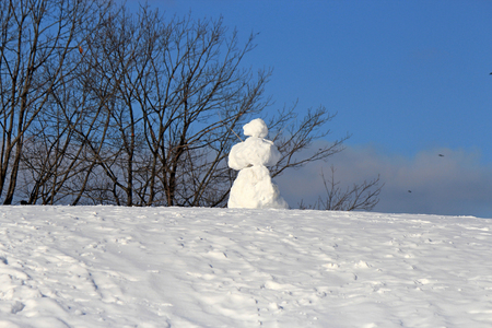 snow maiden in the middle of the park