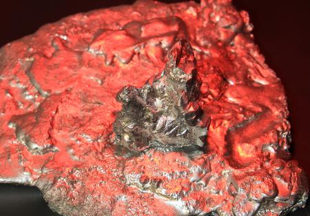 incredible landscape of molten metal, fantastic alien landscape, rising of the red sun