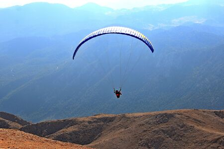 group of paragliders take off from high mountain Tahtali Фото со стока - 132220852