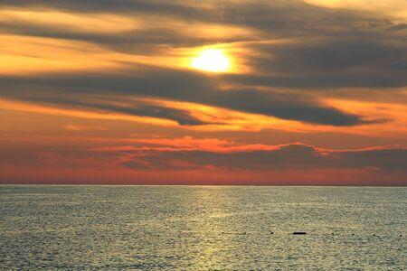 Sunrise on the Mediterranean Sea in Turkey Фото со стока - 132220872