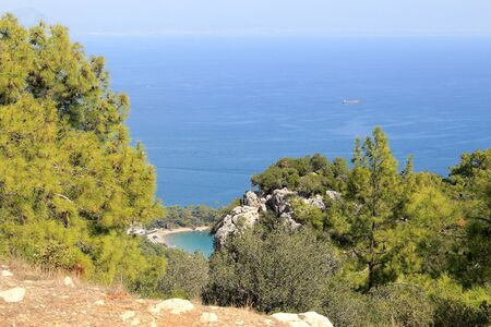 View of the azure lagoon of the Mediterranean Sea Фото со стока - 132220933