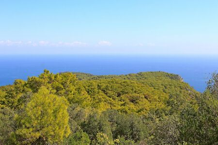 sea view from a high cliff overgrown with forest Фото со стока - 132220947