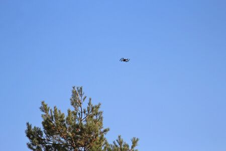 Drone flying over forest amid blue sky Фото со стока - 132764899