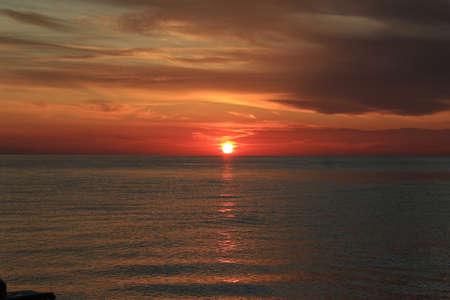 stormy sunset in the Mediterranean sea near Kemer Фото со стока