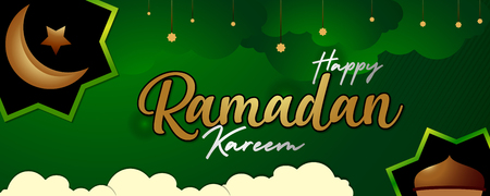 ramadan kareem green color horizontal banner islamic holiday