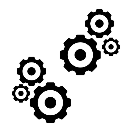 Gears icon isolated black color in white background for ios android apk apps playstore maintanance repair service