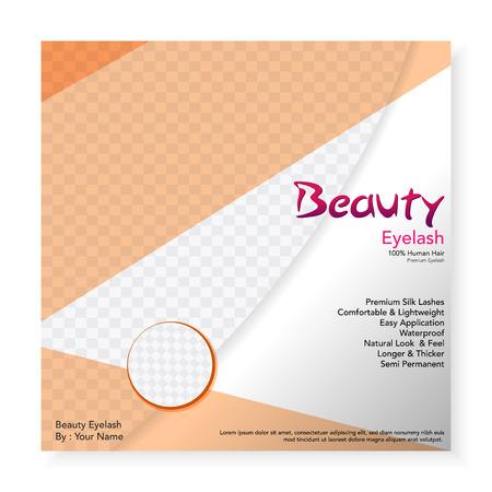 Eyelashes social media template square color pastel modern design_light brown Ilustrace