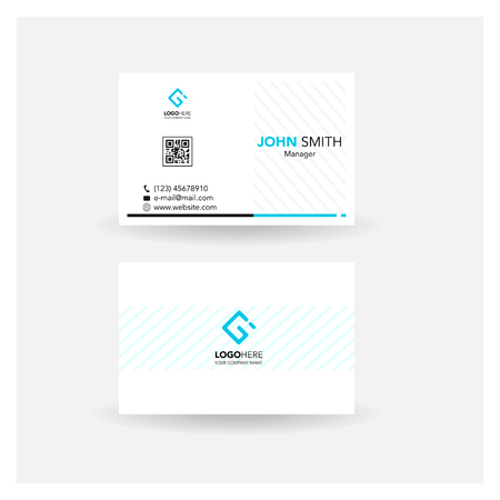 carte de visite carte de visite simple design_bleu isolé blanc