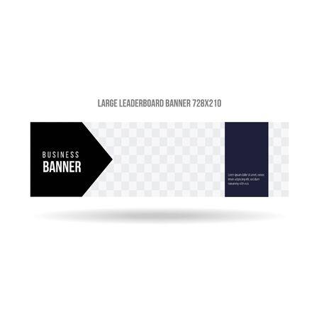 large leaderboard banner vector for website and social media promotion commercial website business template vector Illustration
