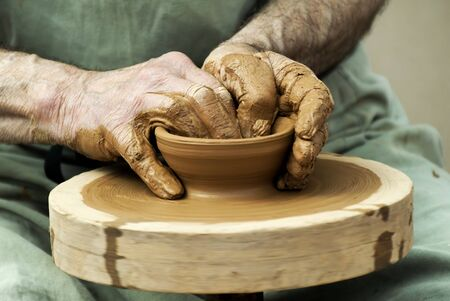 potters wheel: potter at work Stock Photo