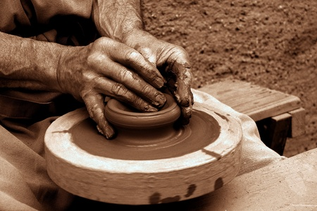he hands of a potter Stock Photo