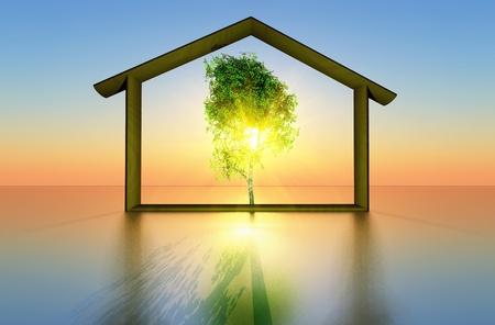 een boom en een huis dat het concept ecologische constructie vertegenwoordigt Stockfoto