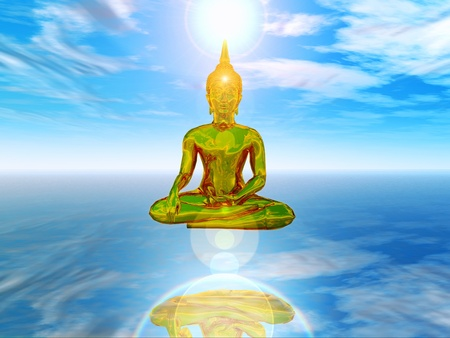 a 3d composition illustration of zen and spirituality