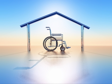 a wheelchair into a house structure Stock Photo