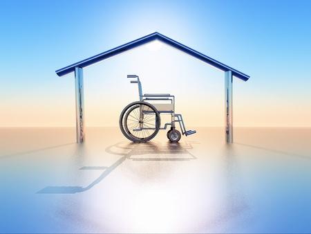 personas discapacitadas: una silla de ruedas en una estructura de casa Foto de archivo