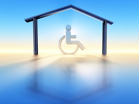 a wheelchair into a house structure Archivio Fotografico