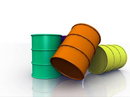 three barrel on white background photo