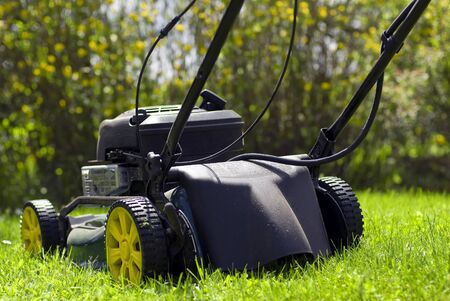 back view of a lawnmover Stock Photo