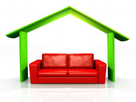 red couch: illustration of home comfort