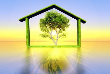 illustratie van een ecologisch huis