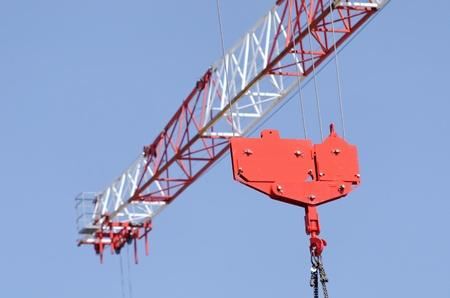 a red crane hook