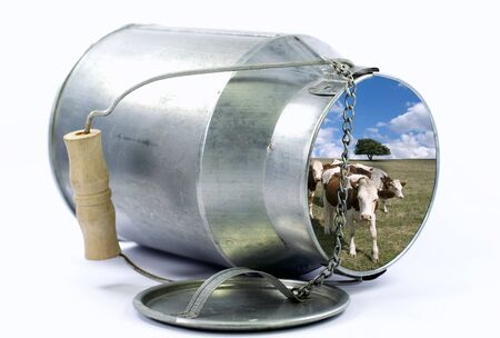 Photomontage with a rural landscape within a milk jug