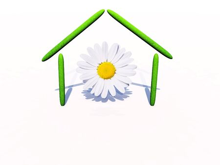 A simple green house illustration with a daisy flower inside Stock Illustration - 10066213