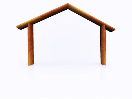 roof framework: Silhouette of a wooden house Stock Photo