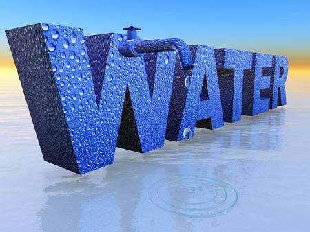 het woord water met een kraan