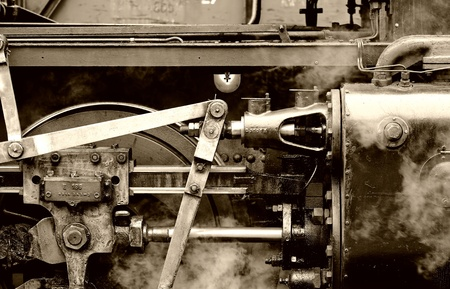 detailed view of an old steam locomotive