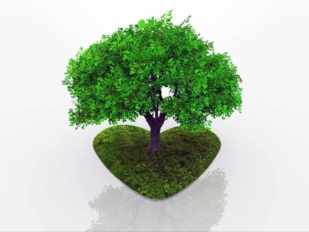 rooted: a tree rooted in a heart budding Stock Photo
