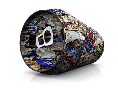 an aluminum can with recycling illustration