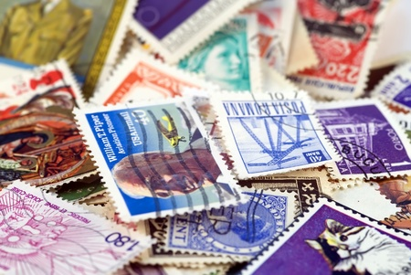 obliteration: Postage stamps of different countries and times. Background