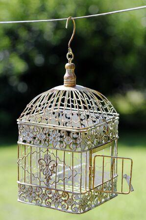opened bird cage Stock Photo