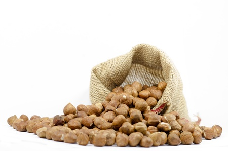 shelled: shelled hazelnut on white background Stock Photo