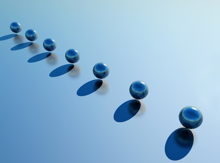 alignment: alignment of blue spheres in 3D modeling Stock Photo