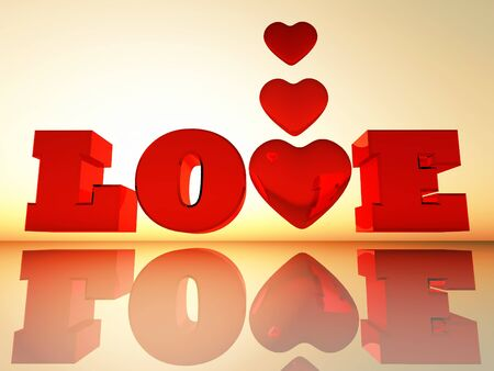 the word love in 3D letters Stock Photo - 17112718