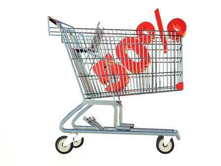 a shopping cart with the number 50% inside Stock Photo - 17360012