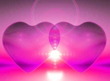 mariage: union of two hearts in pink colors Stock Photo