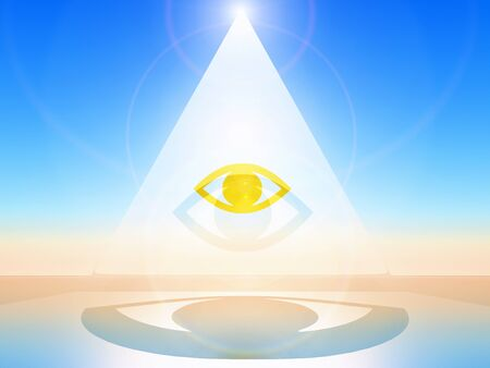 esotericism: a golden eye in a white pyramid Stock Photo