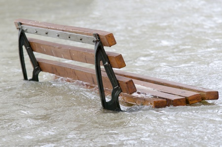 deluge: a bench surrounded by water