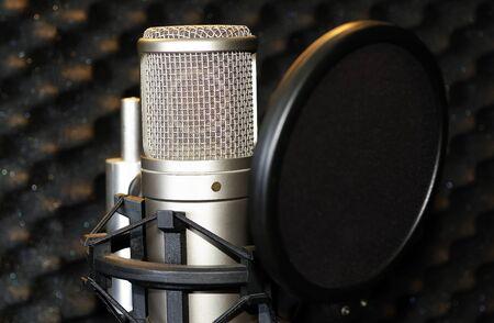 micro recording: microphone in a recording studio