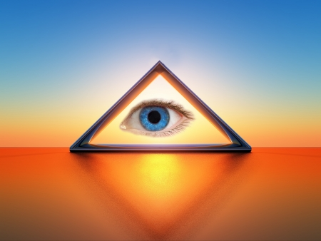 a triangle with an eye inside Stock Photo - 18583629