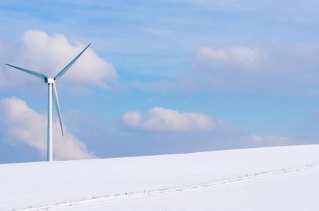 windturbine: windturbine surrounded by snow Stock Photo
