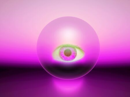 a purple 3d sphere with an eye inside Stock Photo
