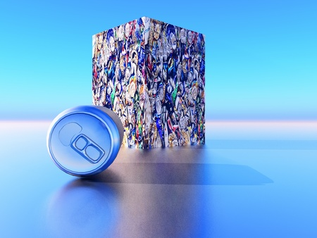 crushed aluminum cans: tin can recycling Stock Photo